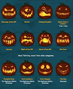 Jack-o-lantern pumpkin face ideas for carving