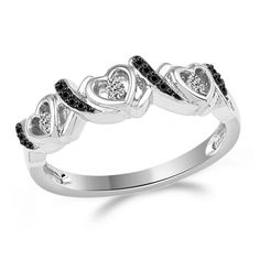 0.13 ct Tw Round Cut Black & White Diamond Ring Sterling Silver #BandRing