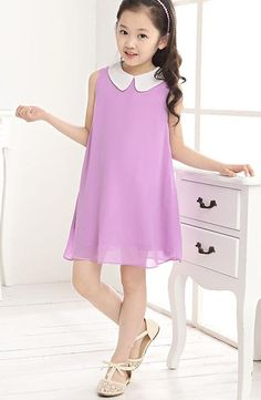 -year-old children s clothing girls dress solid color chiffon princess dress Korean girls Casual Dresses For Women, Sexy Dresses, Cute Dresses, Girls Dresses, Summer Dresses, Girls Fashion Clothes, Girl Fashion, Fashion Outfits, Girl Clothing