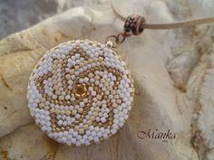 Beaded round Mandala pendant - Manka