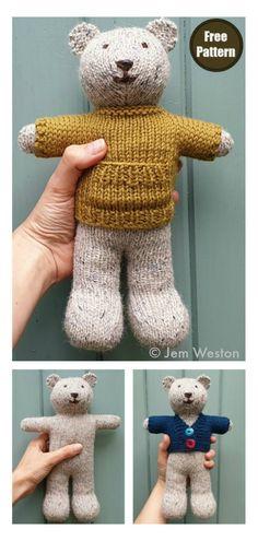 Ted Bear Free Knitting Pattern #startknittingfreepattern #easyknittingpatterns #knittingtoy #teddybearpattern