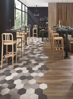 So there's this interior trend with hexagon tiles and wood! We think it looks incredible! Wood Tile Floors, Wooden Flooring, Kitchen Flooring, Kitchen Tiles, Room Tiles, Tile To Wood Transition, Transition Flooring, Floor Design, House Design