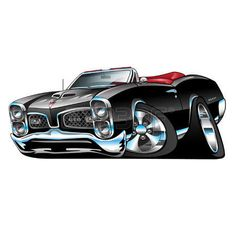 American Muscle Car, black convertible, cartoon illustration isolated on white background photo