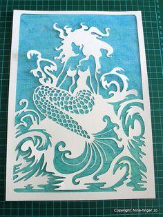 PaperCut-Art, Fantasy Mermaid Papier geschnitten Kunst, Fantasy Mermaid & stürmischen Meer Ausschneiden Kunst, Jade türkis weiß Mermaid Paper Cutting seelandschaft
