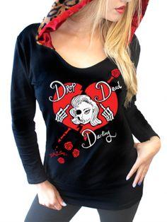 """Women's """"Drop Dead Darling"""" Leopard Hoodie by Demi Loon (Black)"""