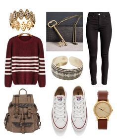 """""""⚜"""" by stewy1113 on Polyvore featuring Converse, Wilsons Leather, Nixon, Hannah Makes Things, women's clothing, women, female, woman, misses and juniors"""