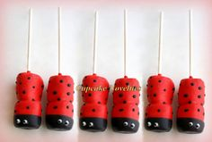 Buy online on Etsy! Perfect for ladybug themed birthdays, baby showers & spring garden themed parties, these cute & delicious ladybug decorated chocolate dipped marshmallow pops make a sweet treat as a dessert or yummy party favors!