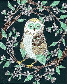 """Owl! """"April Blossoms"""" 4 color screen print"""
