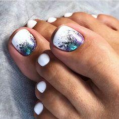 30 Toe Nail Art Designs to Keep Up With Trends # Pretty Toe Nails, Cute Toe Nails, Fun Nails, Pretty Toes, Toe Nail Color, Toe Nail Art, Nail Colors, White Toe Nail Polish, White Shellac Nails