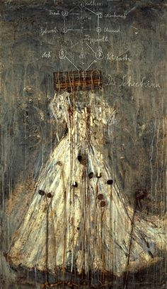 Anselm Kiefer - Schechina; Creation Date: 1999; Medium: Oil, emulsion, acrylic, lead and aluminum wire cage on canvas; Dimensions: 129.92 X 74.8 in...