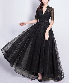 Another great find on #zulily! Black Sheer-Overlay Notch Neck Maxi Dress #zulilyfinds
