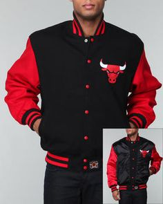Cool jacket to wear to a Chicago Bulls game. Hip Hop Outfits, Swag Outfits, Fashion Outfits, Chicago Bulls Outfit, Concept Clothing, Torn Jeans, Cool Jackets, Well Dressed Men, Swagg