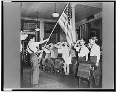 New York students pledging allegiance to the flag in public school 1943