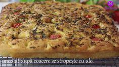 Reteta  Focaccia cu Rosii si Ierburi Aromatice Cherry, Pizza, Meat, Chicken, Food, Youtube, Essen, Meals, Prunus