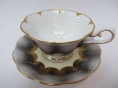 Royal-Albert-Teacup-Saucer-Avon-Shaped-Black-Grey-Cup