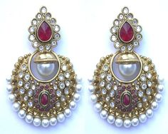 Fashion Jewelry Women Earrings Ruby Pearls Gold Plated Indian Ethnic Style