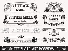 Set of vector labels in art nouveau — Imagen vectorial #5907914