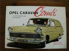 6-sidigt utvik Opel Caravan/kombi, dansk el norsk text, storlek ca 30x21 cm - mycket fint skick.