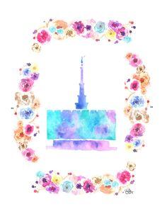 Acuarela LDS templo de PROVO Utah impresión por artworkbyceleste