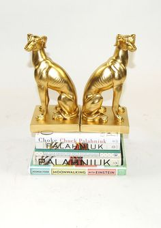 White Faux Taxidermy - The Greyhound Bookends - Gold Home Decor - Office Library…