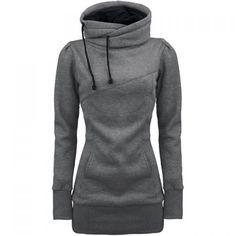 Long Sleeves Hooded Draw String Pockets Beam Waist Korean Style Casual Women's Hoodie, GRAY, M in Sweatshirts & Hoodies   DressLily.com