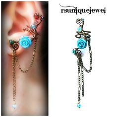 Wire wrapped Blue Rose ear cuff No piercing by rsuniquejewel