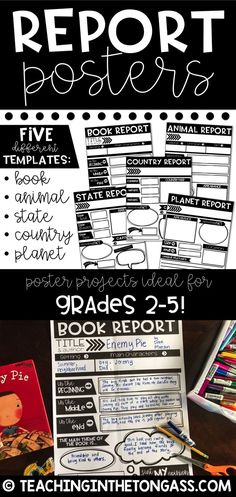 Fun teaching idea! Research Report Posters are perfect to use all year long! I've included 5 different research template pages so you can alternate between a book report template, animal research project, state research project, country research project and planet research project posters!