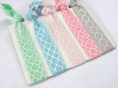 Fold Over Elastic Hair Ties Quatrefoil Set by SouthernStitchesCo, $5.00