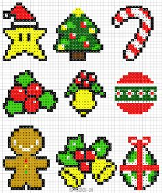 Image result for perler beads holly christmas