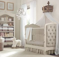 Going to need this shelving unit and loving the tufted sides of the crib.