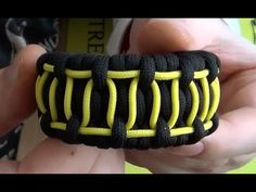 This is a really nice looking pattern that uses the ladder rack weave and adds a cool yellow (or whatever color you like) zigzag design. #ParacordBraceletHQ