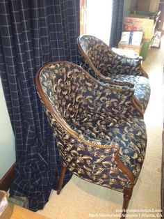 Pair Southwood exposed-wood tub chairs, upholstered in black/tan woven silk-blend fabric. 26w x 28d x 35 1/2h $1295 pair