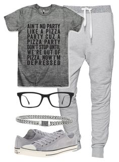 """Grey For Men: Casual Outfit"" by deedee-pekarik ❤ liked on Polyvore featuring True Religion, Converse, Ray-Ban, casual, grey and menswear"