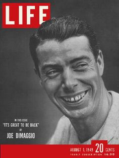 A old Joe DiMaggio Life Magazine, with a Jackie Robinson story inside. DiMaggio, c. During the streak, DiMaggio played in seven doubleheaders. Joe Dimaggio, Go Yankees, New York Yankees, Life Magazine, History Magazine, Vintage Magazines, Vintage Ads, Vintage Sport, Life Cover