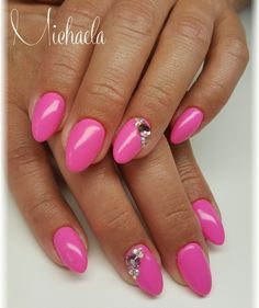 Pink nails,Swarovski Elements