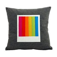 Recycled Felt Polaroid Cushion - Instant Rainbow  by FeltLoveCymru at Folksy.com