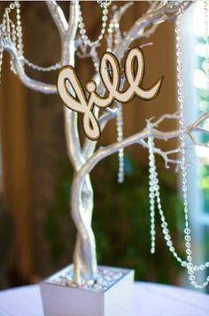 These Bat Mitzvah centerpieces featured Jill's name in script. | MitzvahMarket.com