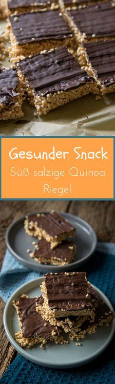 Erinnern mich ja ein bisschen an Peanut Butter Cups - haben aber viel weniger Kalorien - großartiger Snack für zwischendurch - gepoppte Quinoa Riegel mit Schokolade und Erdnussbutter
