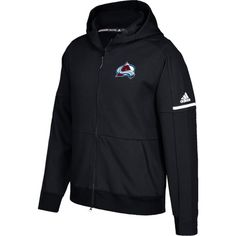 adidas Men's Colorado Avalanche Authentic Pro Squad ID Black Full-Zip Hoodie, Size: Medium, Team