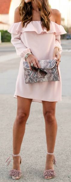Off the shoulder blush dress
