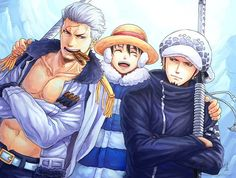 Smoker, Luffy and Trafalgar Law #one piece
