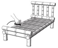 How to Make a Bamboo Bed — Guadua Bamboo Bed Frame Rails, Bamboo Bed Frame, Diy Bed Frame, Bamboo Fence, Diy Coffee Table, Coffee Table Design, Sisal, Bamboo Furniture, Office Furniture