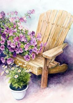 Stella Bruwer Adirondack chair with white pot of daisies and light purple petunias Garden Painting, Garden Art, Painting & Drawing, Watercolor Flowers, Watercolor Paintings, Watercolours, Funny Art, Beautiful Paintings, Painting Inspiration