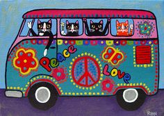 Ryan Conners-Paz y Amor Crazy Cat Lady, Crazy Cats, I Love Cats, Cool Cats, Combi Hippie, Frida Art, Hippie Art, Sleepy Cat, Cat Art
