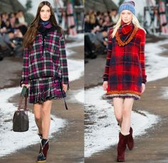 Tommy Hilfiger 2014-2015 Fall Autumn Winter Womens Runway Looks Fashion - Mercedes-Benz Fashion Week New York Catwalk - Raw Denim Jeans Patchwork Fringes Knit Oversized Outerwear Coat Bomber Jacket Jumpsuit Ornamental Folk Print Furry Plaid Ruffles Flowers Florals Western Old Americana Snow Poncho Shawl Turtleneck Dress Embroidery