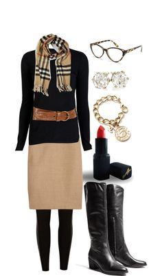 """Charmed"" by mrsrutledge1810 on Polyvore  I like this..I think the scarf patterndoes a lot but the studs, bangle, lip and glass are phenomenal..now that belt..I'm not a fan..I think a fitted sweater does it..."