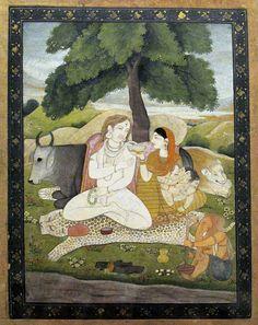 Shiva and his family. Pahari, Guler. Late 18th cent. Watercolor and opaque colors on paper. Prince of Wales Museum of Western India, officially renamed as Chhatrapati Shivaji Maharaj Vastu Sangrahalaya. Mumbai