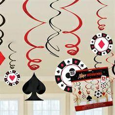 Casino Hanging Swirl Decorations  from Windy City Novelties