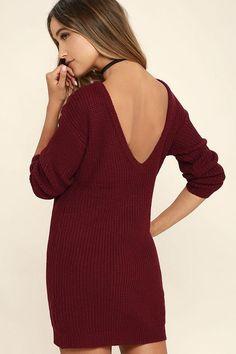 #AdoreWe #Lulus Lulus Bringing Sexy Back Wine Red Backless Sweater Dress - AdoreWe.com