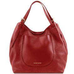 Cinzia - Shoppingbag i mykt skinn - Rød